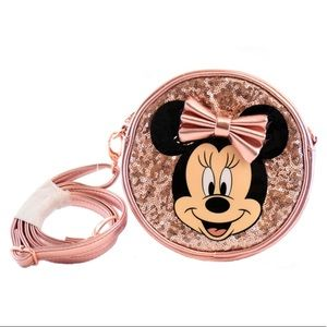 Minnie Mouse rose gold sequin purse